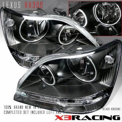 Custom - 01-03 LEXUS RX300 HALO CRYSTAL HEADLIGHTS -JDM BLACK