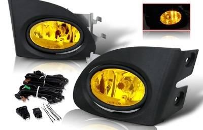 WinJet - Honda Civic HB WinJet OEM Fog Light - Yellow - Wiring Kit Included - WJ30-0084-12