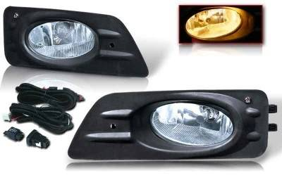 WinJet - Honda Accord 4DR WinJet OEM Fog Light - Clear - Wiring Kit Included - WJ30-0085-09