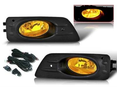 WinJet - Honda Accord 4DR WinJet OEM Fog Light - Yellow - Wiring Kit Included - WJ30-0085-12