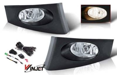 WinJet - Honda Fit WinJet OEM Fog Light - Clear - Wiring Kit Included - WJ30-0106-09