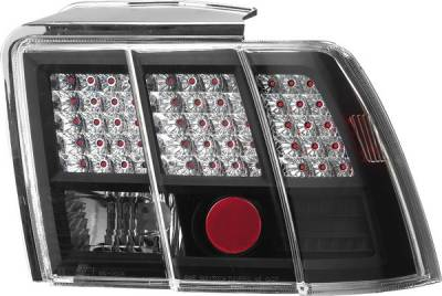 APC - Ford Mustang APC Diamond Cut Taillights with Black Housing - 407514TLB