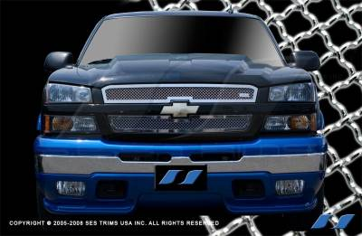 SES Trim - Chevrolet Silverado SES Trim Chrome Plated Stainless Steel Mesh Grille - MG101C