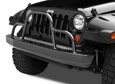 Warrior - Jeep Wrangler Warrior Rock Crawler Stubby Bumper with Brush Guard & D-Rings - 57059