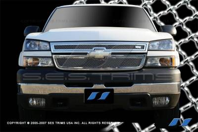 SES Trim - Chevrolet Silverado SES Trim Chrome Plated Stainless Steel Mesh Grille - MG112