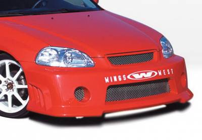 Wings West - Honda Civic Wings West GSR Style Front Bumper Cover - Fiberglass - 490176