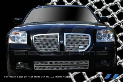 SES Trim - Dodge Magnum SES Trim Chrome Plated Stainless Steel Mesh Grille - Top & Bottom - 3PC - MG121A-B