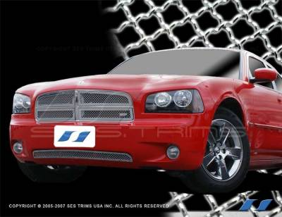 SES Trim - Dodge Charger SES Trim Chrome Plated Stainless Steel Mesh Grille - Bottom - MG135B