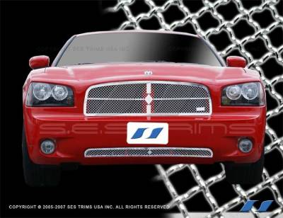 SES Trim - Dodge Charger SES Trim Chrome Plated Stainless Steel Mesh Grille - Diamond Design - Bottom - MG135DB