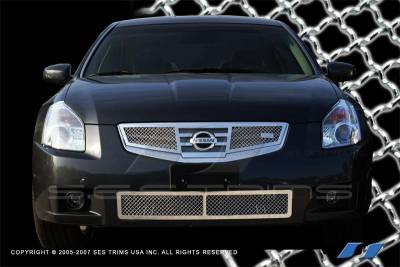 SES Trim - Nissan Maxima SES Trim Chrome Plated Stainless Steel Mesh Grille - Top & Bottom - MG149A-B