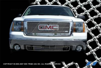 SES Trim - GMC Sierra SES Trim Chrome Plated Stainless Steel Mesh Grille - Bottom - MG151B