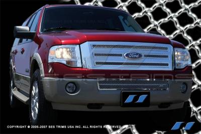 SES Trim - Ford Expedition SES Trim Chrome Plated Stainless Steel Mesh Grille - Top & Bottom - MG152A-B