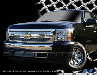 SES Trim - Chevrolet Silverado SES Trim Chrome Plated Stainless Steel Mesh Grille - MG153
