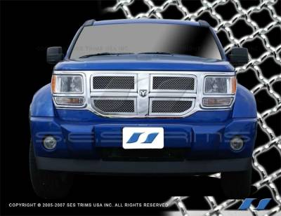 SES Trim - Dodge Nitro SES Trim Chrome Plated Stainless Steel Mesh Grille - MG156