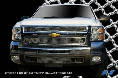 SES Trim - Chevrolet Silverado SES Trim Chrome Plated Stainless Steel Mesh Grille - MG159
