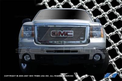 SES Trim - GMC Sierra SES Trim Chrome Plated Stainless Steel Mesh Upper Grille - MG163