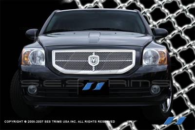 SES Trim - Dodge Caliber SES Trim Chrome Plated Stainless Steel Mesh Grille - MG165