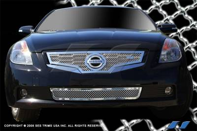 SES Trim - Nissan Altima SES Trim Chrome Plated Stainless Steel Mesh Grille - Bottom - MG185B