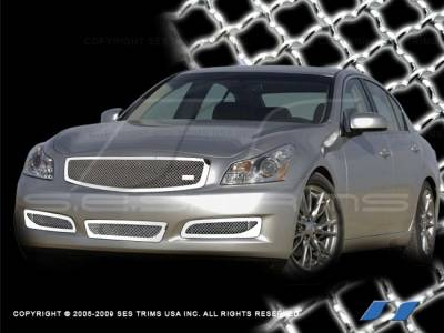 SES Trim - Infiniti G37 SES Trim Chrome Plated Stainless Steel Mesh Grille - Bottom - MG191B