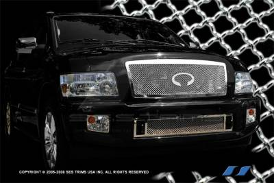 SES Trim - Infiniti QX56 SES Trim Chrome Plated Stainless Steel Mesh Grille - Top - MG192
