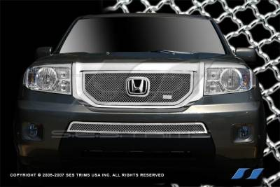SES Trim - Honda Pilot SES Trim Chrome Plated Stainless Steel Mesh Grille - Top & Bottom - MG195A-B