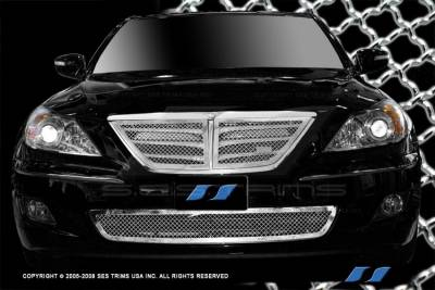 SES Trim - Hyundai Genesis SES Trim Chrome Plated Stainless Steel Mesh Grille - Top & Bottom - MG196A-B