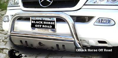 Black Horse - Mercedes-Benz ML Black Horse Bull Bar Guard with Skid Plate - Without Fog Light Brackets