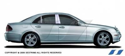 SES Trim - Mercedes-Benz E Class SES Trim Pillar Post - 304 Mirror Shine Stainless Steel - 6PC - P133