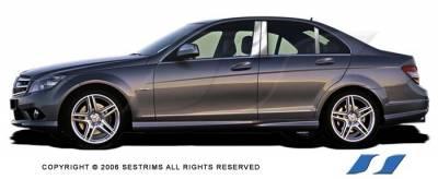 SES Trim - Mercedes-Benz C Class SES Trim Pillar Post - 304 Mirror Shine Stainless Steel - 6PC - P190