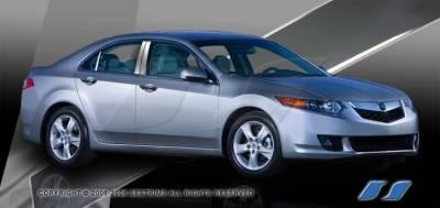 SES Trim - Acura TSX SES Trim Pillar Post - 304 Mirror Shine Stainless Steel - 6PC - P213