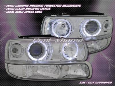 Custom - Euro Chrome Dual Halo Headlights Combo