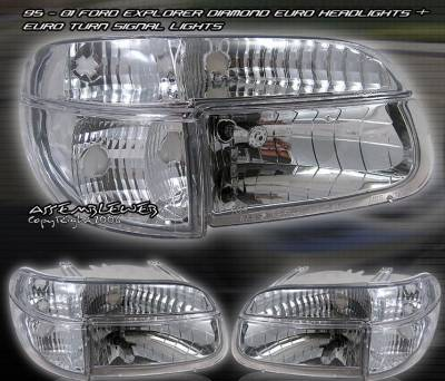 Custom - Euro Diamond Headlights With Corner