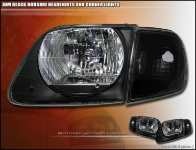Custom - JDM Black Headlights With Corner
