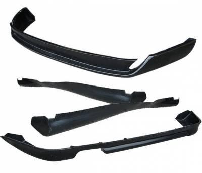 4 Car Option - Audi A4 4 Car Option Polyurethane Type-O Style Full Body Lip Kit - 4PC - BLK-AA496O-PU