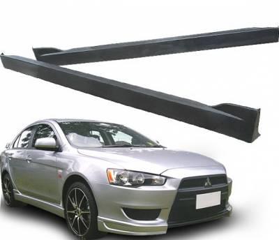 4 Car Option - Mitsubishi Lancer 4 Car Option Polyurethane Side Skirts - BLS-ML08T-PU