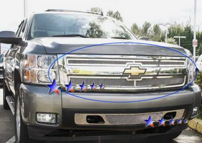 APS - Chevrolet Silverado APS Wire Mesh Grille - Upper - Stainless Steel - C75766T