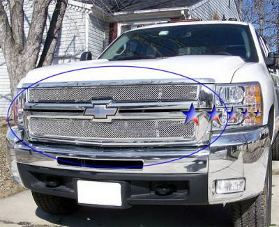 APS - Chevrolet Silverado APS Wire Mesh Grille - Upper - Stainless Steel - C75774T