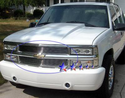 APS - Chevrolet CK Truck APS Billet Grille - 6 Bar - Upper - Stainless Steel - C85011S