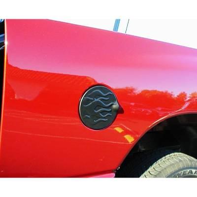 V-Tech - Chevrolet Tahoe V-Tech Fuel Door Cover - Flame Style - Black - 77958