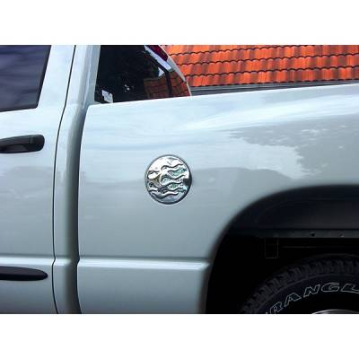 V-Tech - Dodge Ram V-Tech Fuel Door Cover - Flame Style - Chrome - 1377988