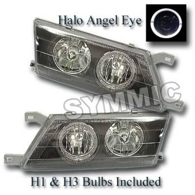 Custom - Black Housing Headlights - White Halo Angel Eyes