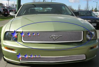 APS - Ford Mustang APS Wire Mesh Grille - Upper - Stainless Steel - F76012S