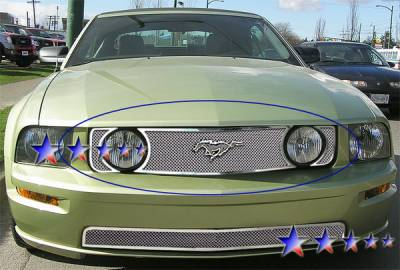 APS - Ford Mustang APS Wire Mesh Grille - Upper - Stainless Steel - F76013T