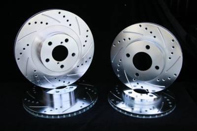 Royalty Rotors - Mitsubishi Mirage Royalty Rotors Slotted & Cross Drilled Brake Rotors - Rear