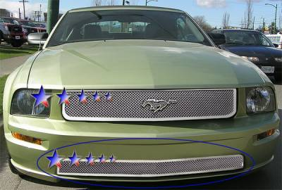 APS - Ford Mustang APS Wire Mesh Grille - Bumper - Stainless Steel - F76017S
