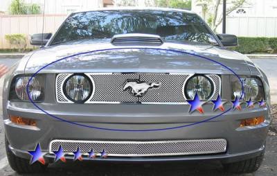 APS - Ford Mustang APS Wire Mesh Grille - with Logo Opening - Upper - Stainless Steel - F76023T