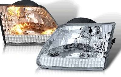 WinJet - Ford F250 WinJet Euro Headlight with Halo - Chrome & Clear - WJ10-0015-01
