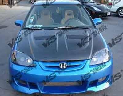 VIS Racing - Honda Civic 2DR & 4DR VIS Racing Xtreme GT Black Carbon Fiber Hood - 01HDCVC2DGT-010C