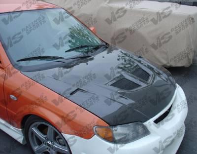 VIS Racing - Mazda Protege VIS Racing EVO Black Carbon Fiber Hood - 01MZ3234DEV-010C