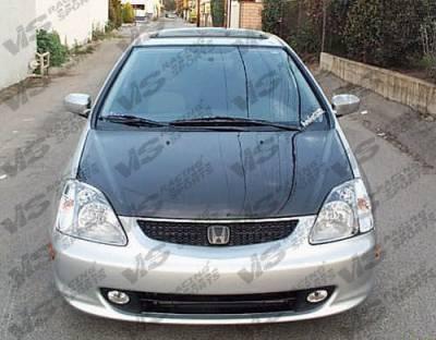 VIS Racing - Honda Civic VIS Racing OEM Black Carbon Fiber Hood - 02HDCVCHBOE-010C